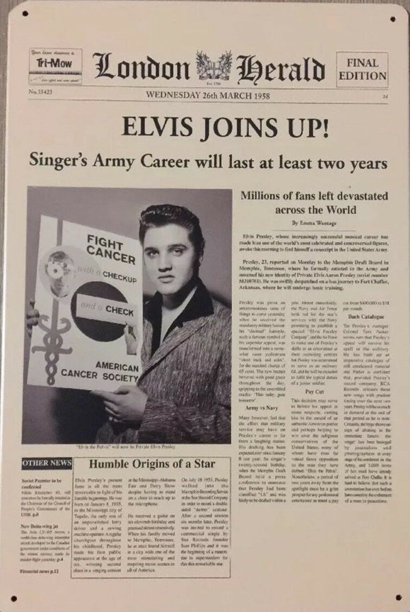 Elvis Memorabilia Garage Rustic Vintage Metal Tin Sign Man Cave, Shed and Bar Sign