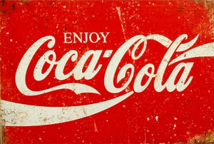 Enjoy Coca Cola Rustic Look Tin Metal Sign Man Cave Quality Handmade
