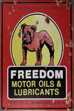 FREEDOM MOTOR Oil Garage Rustic Vintage Metal Tin Signs Man Cave, Shed and Bar