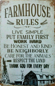 Farm House Rules tin metal sign MAN CAVE brand new