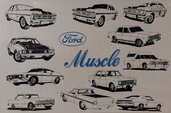 Ford Muscle Retro Man Cave Vintage Rusty Rustic Metal Sign Extra Large