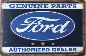 Ford Genuine Parts Garage Rustic Vintage Metal Tin Sign Man Cave, Shed and Bar
