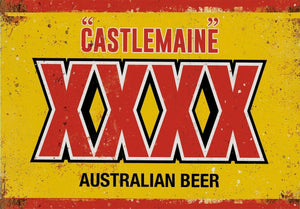 Four x Castlemaine Rustic Look  Tin Metal Sign  Man Cave  Quality Handmade