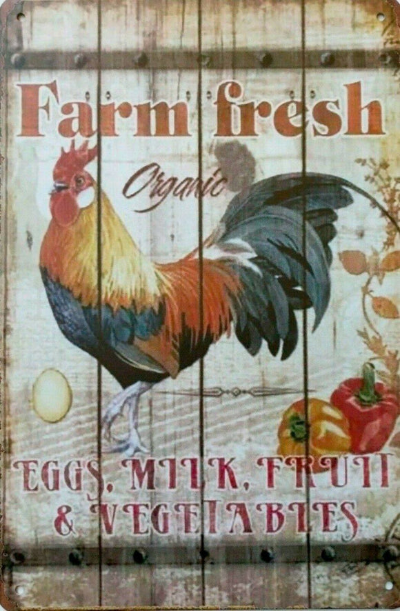 Fresh Farm Organic Food tin metal sign MAN CAVE brand new free postage