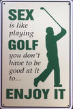 GOLF  Garage Rustic Look Vintage Metal Tin Sign Man Cave, Shed and Bar
