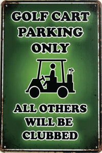 GOLF WARNING Garage Rustic Look Vintage Metal Tin Sign Man Cave, Shed and Bar