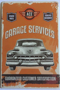Garage Services Rustic Look Vintage Metal Tin Signs Man Cave, Shed and Bar Sign
