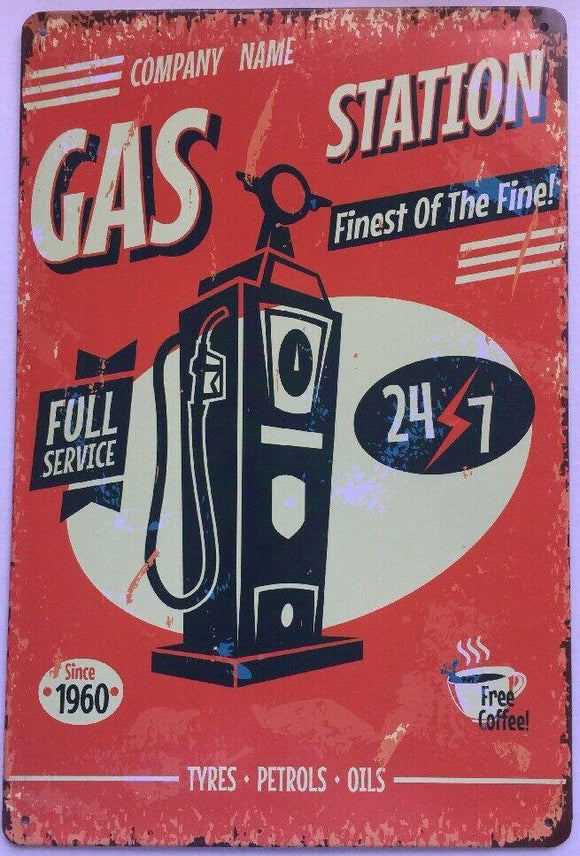 Gas Station Garage Rustic Vintage Metal Tin Signs Man Cave, Shed and Bar