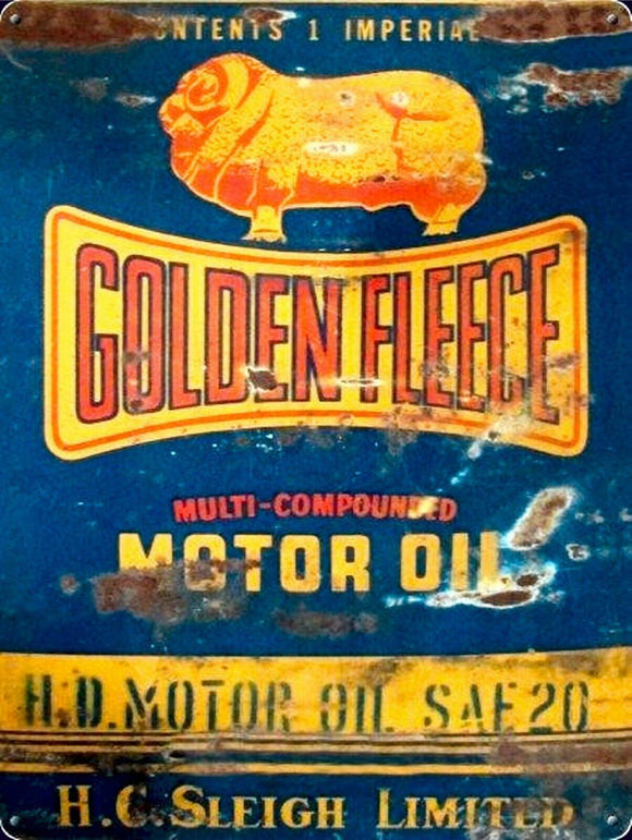 Golden Fleece H.D. Motor oil multi compounded tin metal sign 40x30