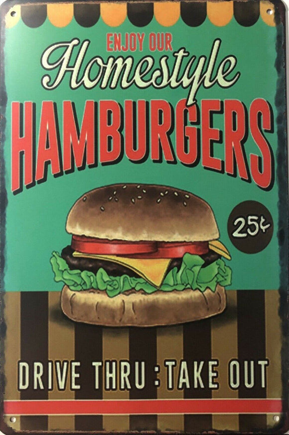HAMBURGERS Rustic Vintage Metal Tin Sign Man Cave,Garage,Shed Bar and Home decor