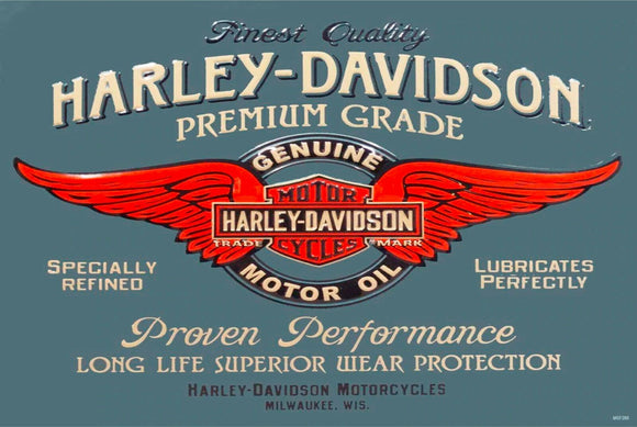 HD Harley motor oil brand Rustic Look  Tin Metal Sign  Man Cave  Quality Handmade