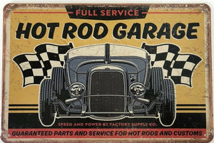HOT RODS  Garage Rustic Vintage Metal Tin Signs Man Cave, Shed, Bar and Home decor