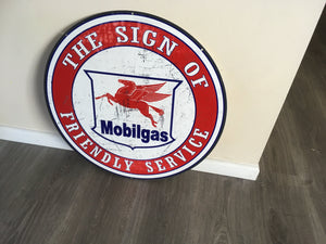 Mobilgas Friendly Service    Metal  sign Man cave bar  Free postage Australia wide