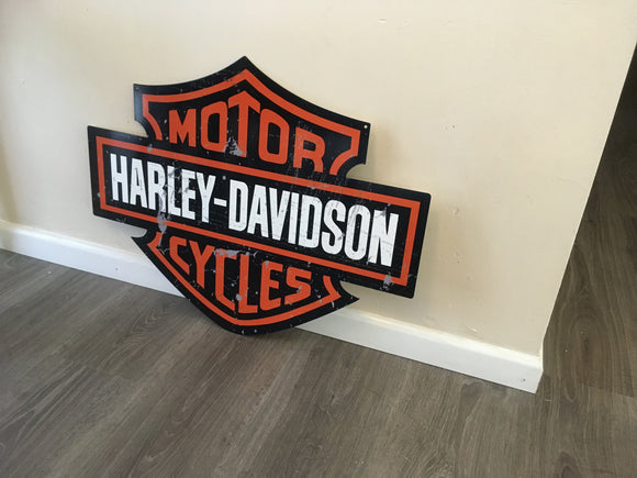 Harley Shield Metal metal  sign  bar garage shed man cave free postage - TinSignFactoryAustralia