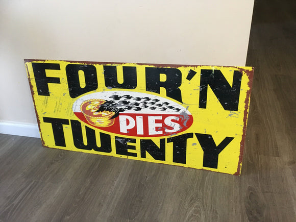 Four N Twenty Pies with  BLACK  Birds Metal Sublimated Sign  Great Reproduction - TinSignFactoryAustralia