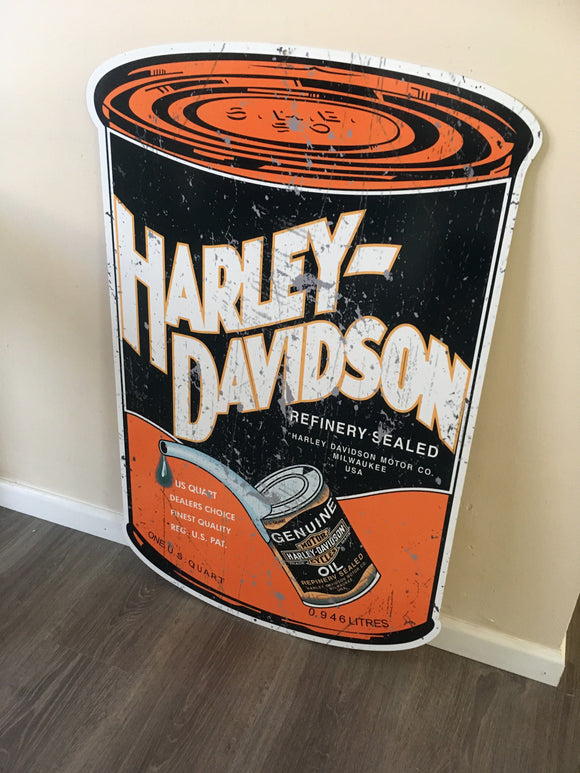 Harley Davidson Oil Can metal tin sign bar garage - TinSignFactoryAustralia