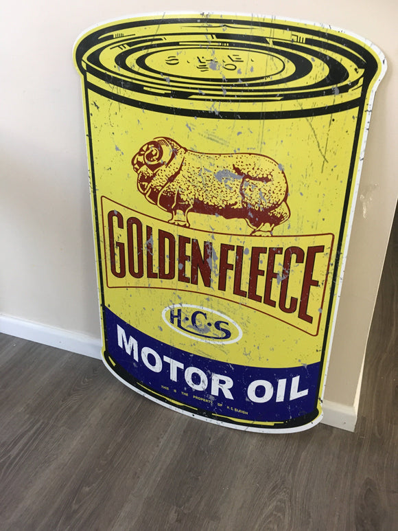 GOLDEN FLEECE MOTOR OIL  metal tin sign bar garage - TinSignFactoryAustralia