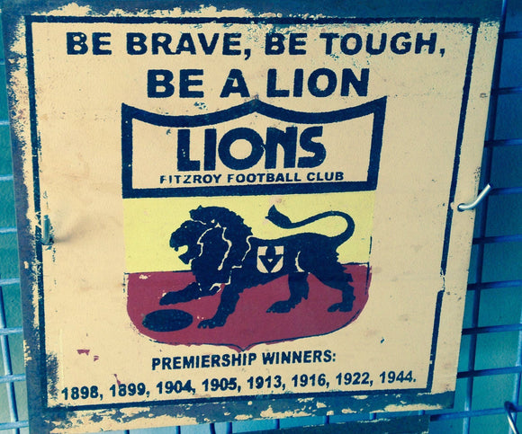 Fitzroy Lions Football Club Metal Sign 20x 20 cm - TinSignFactoryAustralia
