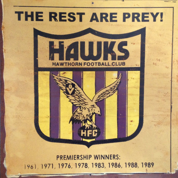 Hawthorn   Football Club  Metal Sign 20x 20 cm - TinSignFactoryAustralia