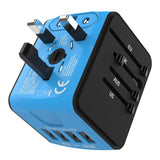 Jollyfit International Universal Travel Adapter 4 USB Charger AC Power Wall Plug US UK AU EU Worldwide 150 Countries with Safe Fuse for Europe France Italy American British European Adapter (Blue)