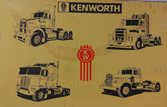 Kenworth Rusty Retro Man Cave Vintage Rusty Rustic Metal Sign Extra Large