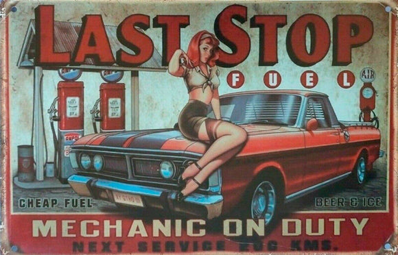 Last Fuel Stop tin metal sign MAN CAVE brand new