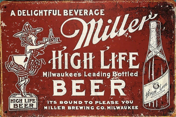 MILLERS BEER Rustic Garage Vintage Metal Tin Sign Man Cave, Shed and Bar