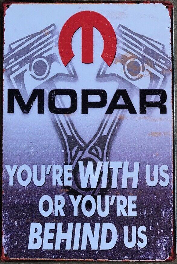 MOPAR Garage Rustic Vintage Metal Tin Signs Man Cave, Shed and Bar Sign