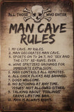 Man Cave Rules Garage Rustic Vintage Metal  Tin Signs Man Cave, Shed and Bar Sign