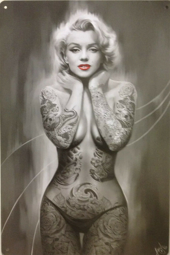 Marilyn Monroe Garage Rustic Vintage Metal Tin Signs Man Cave, Shed and Bar Sign