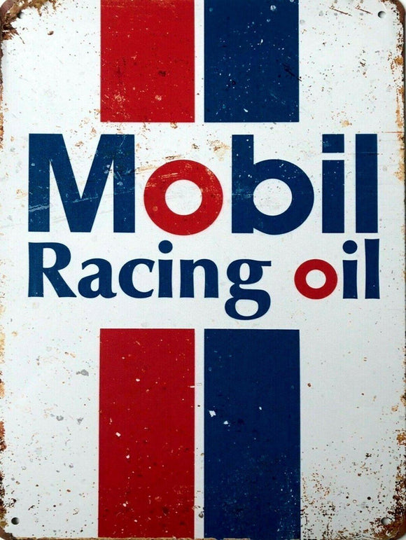 Mobil racing oil new tin metal sign MAN CAVE