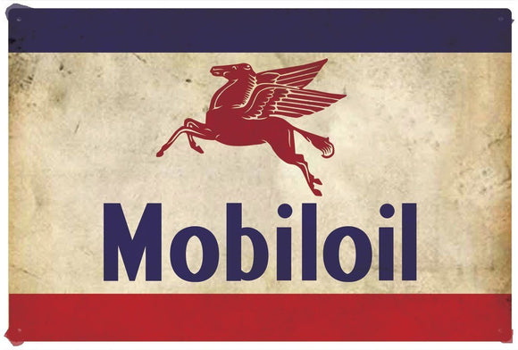 Mobiloil Rustic   Look Vintage Tin Metal Sign Man Cave, Shed-Garage
