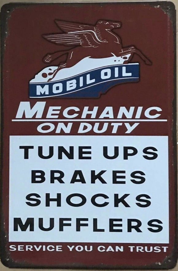 Mobiloil Garage Rustic Vintage Look Metal Tin Sign Man Cave, Shed and Bar
