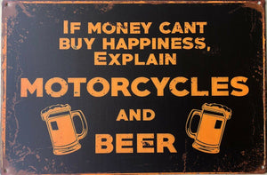 Motorcycle and Beer Garage Rustic Vintage Metal Tin Signs Man Cave, Shed and Bar