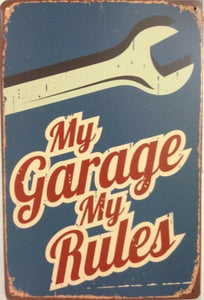 My Garage My Rules Rustic Vintage Metal Tin Signs Man Cave,Shed and Bar