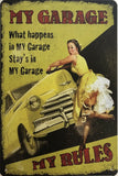 My Garage Rustic Retro Vintage Metal Tin Sign Man Cave, Shed and Bar Sign