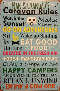 Nan and Grandad's Caravan Rules tin metal sign MAN CAVE brand new