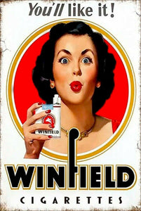 New Winfield cigarettes tin metal sign MAN CAVE