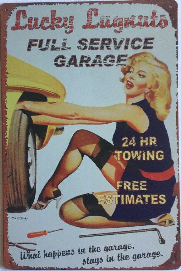 Pin Up Garage Rustic Vintage Metal Tin Signs Man Cave, Shed and Bar