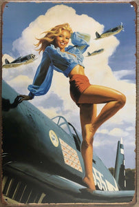 Pin Up Girl Garage Rustic Vintage Metal Tin Sign Man Cave,Shed Bar