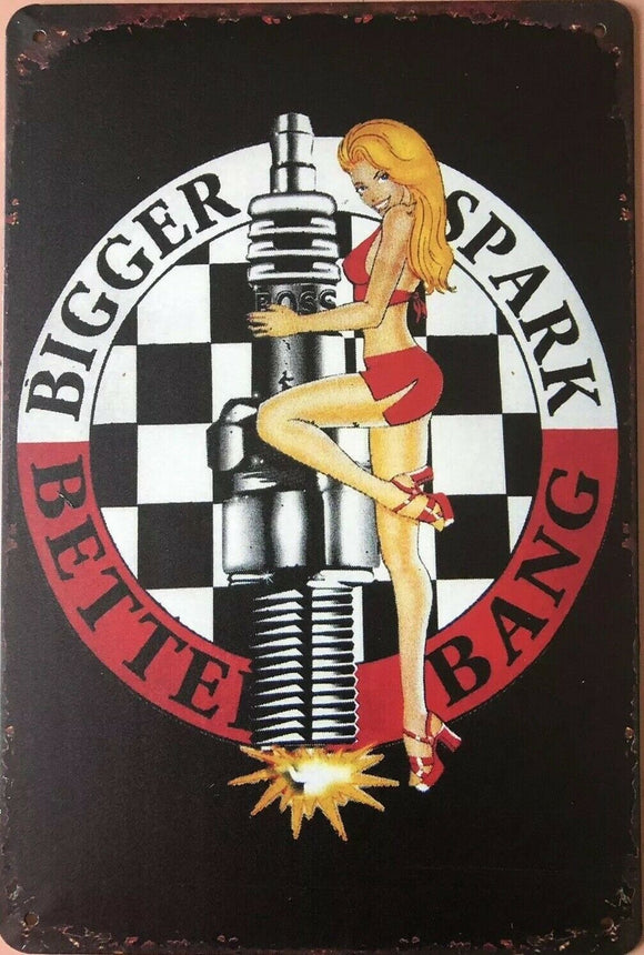 Pin Up Girl Man Cave Vintage Rustic Garage Metal Tin Signs Man Cave, Shed and Bar