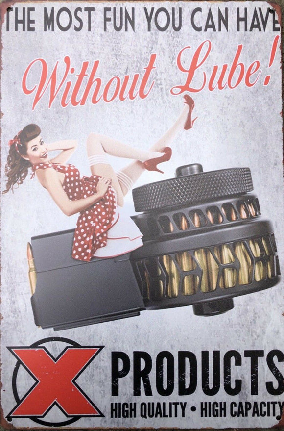 Pin Up LUBE Garage Rustic Vintage Metal Tin Signs Man Cave, Shed and Bar Sign