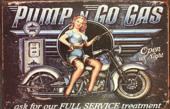 Pump N Go Motorcycle Garage Rustic Vintage Metal Tin Signs Man Cave, Shed and Bar