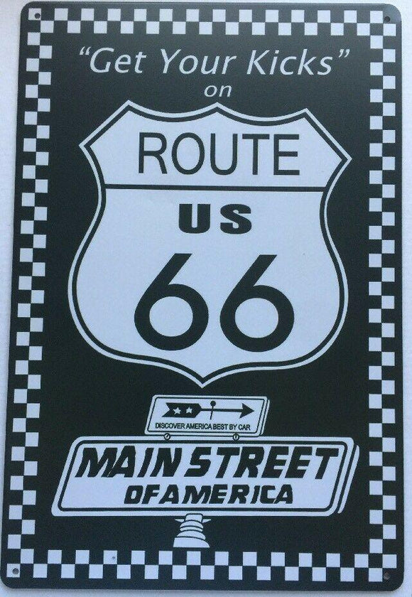 Route 66 Garage Rustic Vintage Metal Tin Signs Man Cave, Shed and Bar Sign