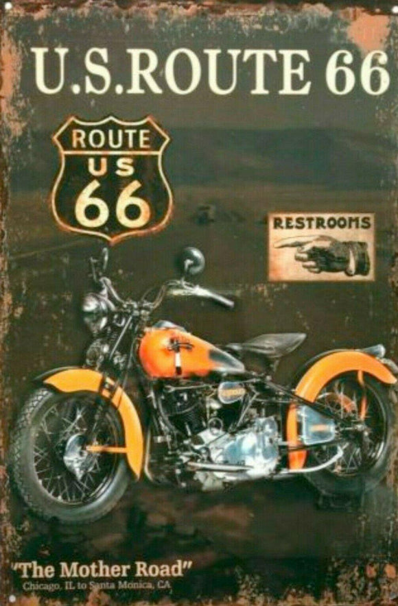 Route 66 Motor-Cycle tin metal sign MAN CAVE brand new