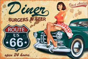 Route 66 diner burgers beer tin metal sign man cave new garage