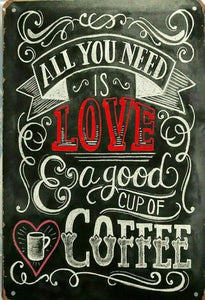 Rustic All You Need Is Love new tin metal sign MAN CAVE