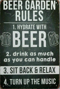 Rustic Beer Garden Rules new tin metal sign MAN CAVE