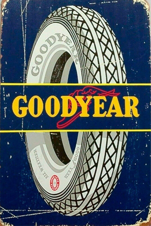 Rustic Goodyear all weather Tyres tin metal sign MAN CAVE brand new