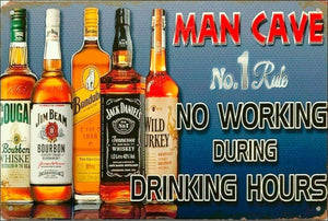 Rustic Man Cave Rules New tin metal sign MAN CAVE